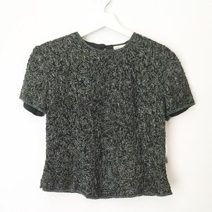 NWT Papell Boutique Entwined Flower Beaded Top